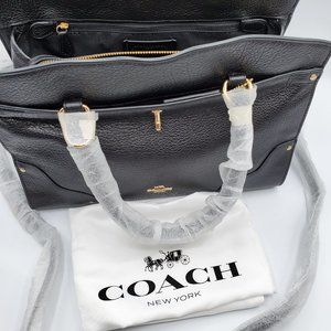 COACH MERCER SATCHEL BLACK GRAIN LEATHER LADIES